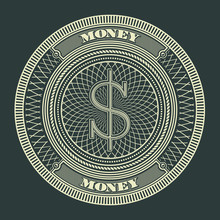 Money Decorative Circle Sign Symbol Vector Illustration. Suitable For Graphic Element, Apparel, And Other Design Needs. Non-Layered