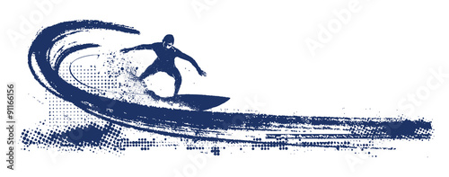 grunge surf scene with pipeline wave and rider Fotobehang