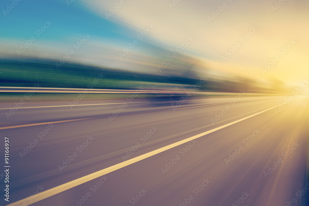 Fototapety, obrazy: abstract empty asphalt blurry road and sunlight with space