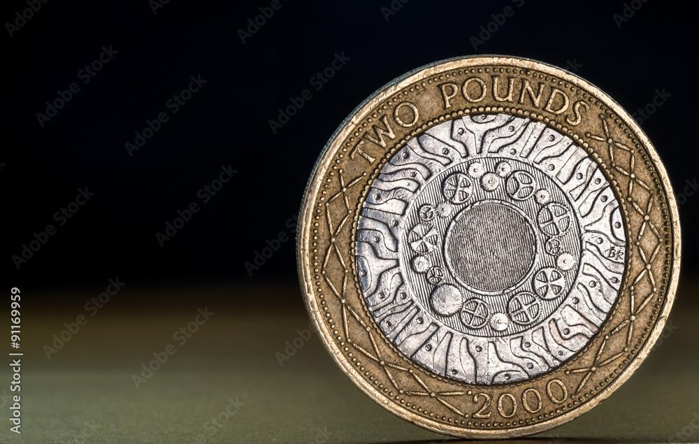 Makro Nahaufnahme Von Einem Britischen Zwei Pfund Münze Foto Poster