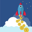 Business start up launch - money making rocket with dollars