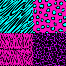 Animal Skin Seamless Patterns In Bright Colors