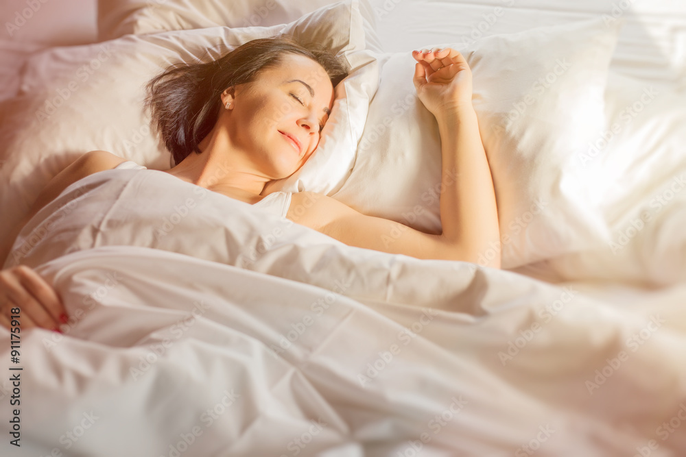 Fototapety, obrazy: Woman sleeping in bed
