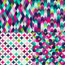 Seamless Multicolor Geometric Pattern Textured Background
