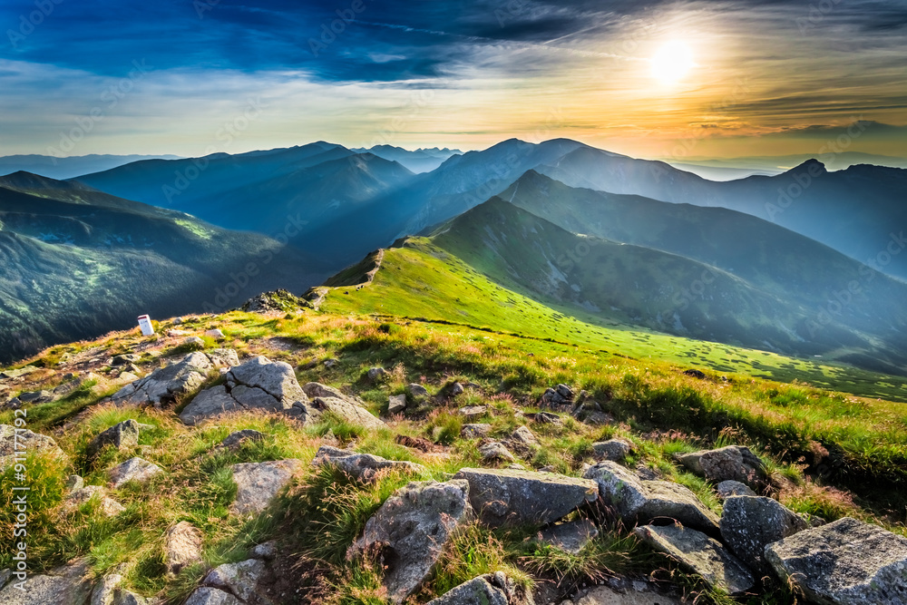 Fototapety, obrazy: Wonderful sunset in mountains in summer