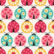 Seamless Ladybird Cartoon Pattern