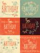 Set happy birthday hand lettering calligraphy