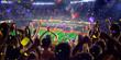 Leinwandbild Motiv Fans on stadium game panorama view