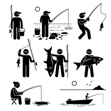 Man Fishing Big And Small Fish...