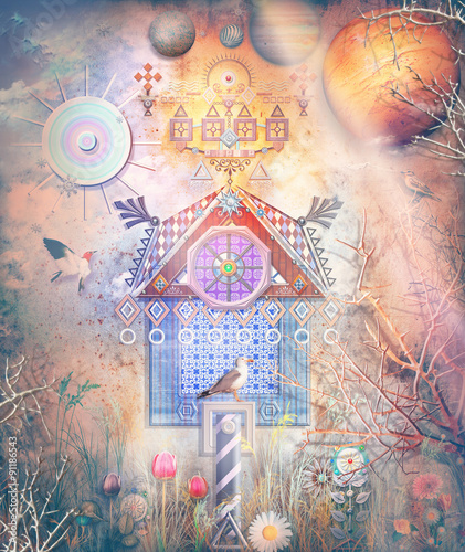 Canvas Prints Imagination Fairytales house in the dark forest
