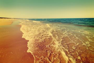 Fototapeta Baltic sea beach, vintage photo.