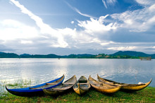 Traditional Wooden Boats At Lak Lake, Buon Ma Thuoc, Vietnam