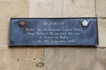 Richard III Plaque In York, England.