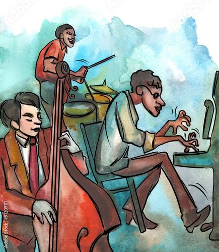 Fotografia  Jazz trio playing jazz composition