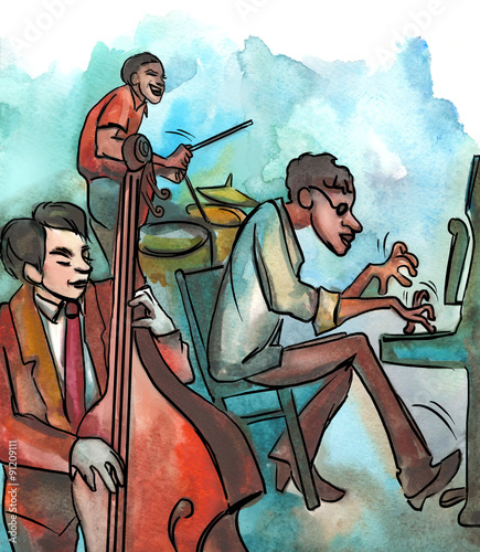 Fotografering  Jazz trio playing jazz composition