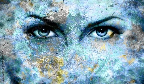 Fototapety, obrazy: Blue goddess women eye, multicolor blue background. eye contact.
