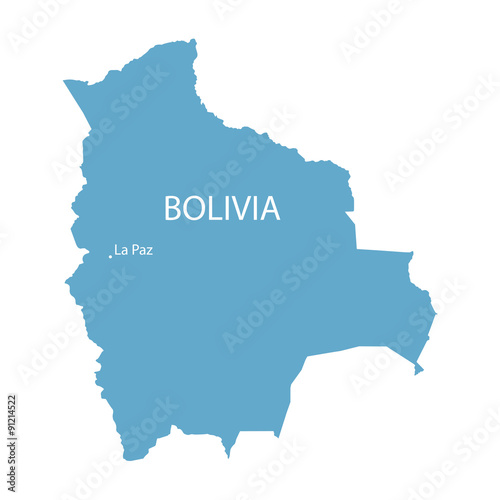 blue map of Bolivia with indication of La Paz – kaufen Sie diese ...