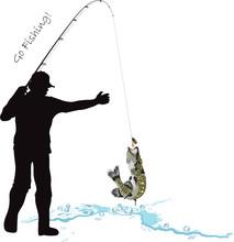 Fishing, Fisherman And Pike, Fishing Rod And Lure