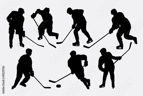 Photo  Hockey ice sport action silhouettes