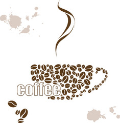 Fototapeta Popularne Vector illustration with a Cup of coffee and hand drawn watercolor
