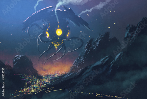 sci-fi scene.Alien ship invading night city,illustration painting Poster