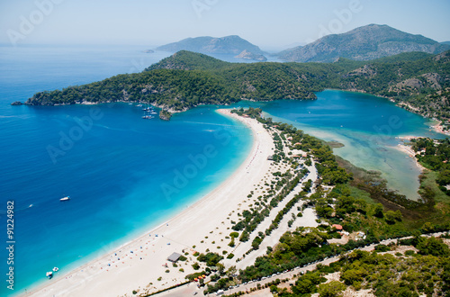 Photo  Oludeniz from the paraglide (bird's eye view), Fethiye, Turkey