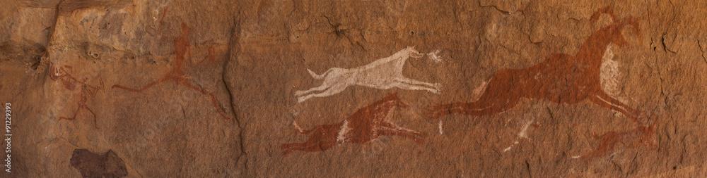 Fototapety, obrazy: Petroglifi preistorici del deserto del Sahara libico