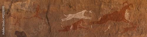 Fotografie, Obraz  Petroglifi preistorici del deserto del Sahara libico