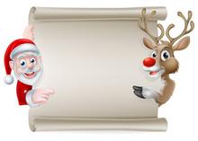 Santa Reindeer Scroll