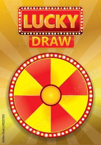 Lucky Draw Typographic With Glowing Banner And Signboard On Gold