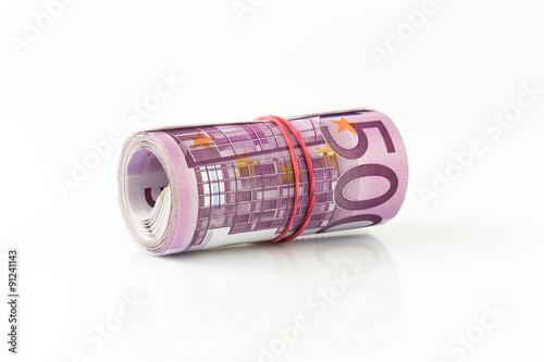 Poster  Bargeld - Euro Scheine gerollt - 500 Euro Geldschein