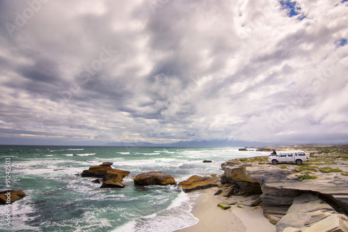 Foto op Plexiglas Zuid Afrika Traveler at the coast of Africa, Atlantic ocean, Western Cape, South Africa