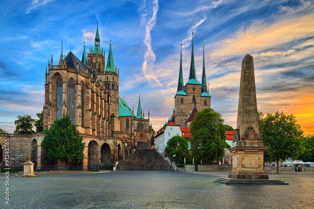 Fototapety, obrazy: Erfurt Dom am Abend