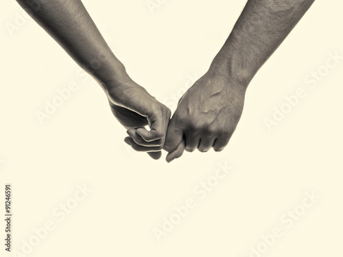 Fotografie, Obraz  Friendship forever concept. man and woman holding hands