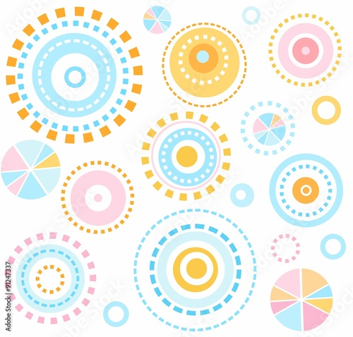 fototapeta na lodówkę Background, geometric, circles, blue, pink, yellow, seamless, kids, white, abstraction.