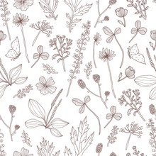 Vector Seamless Pattern With Flowers And Grass, Hand Drawn Vector Illustration. Seamless Pattern Can Be Used For Wallpaper, Pattern Fills, Web Page Background, Surface Textures.