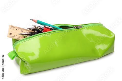 Cuadros en Lienzo Pencil case with school supplies