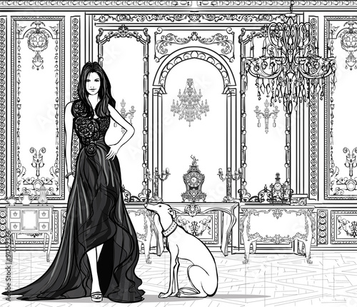 Photo sur Toile Art Studio Woman in a palace with a greyhound