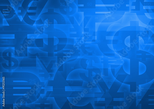 Currency symbol on bright blue for financial background Wallpaper Mural