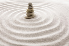 Japanese Zen Garden Meditation For Concentration And Relaxation Sand For Harmony And Balance In Pure Simplicity - Macro Lens Shot