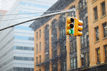 New York City Traffic Lights On Winter Day