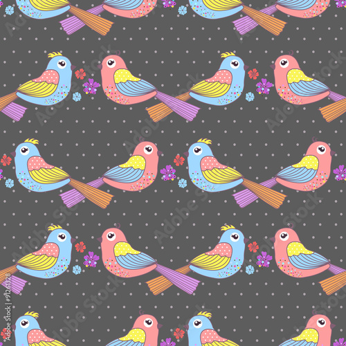 Photo sur Aluminium Hibou Seamless pattern with birds and flowers on a polka dots on a dark background