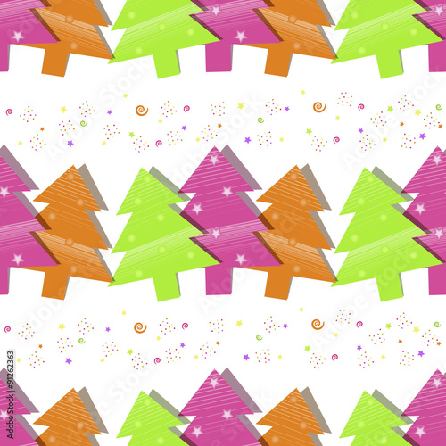 Photo sur Aluminium Hibou Christmas seamless pattern with Christmas trees on a white background
