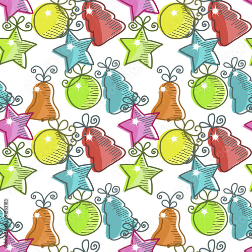 Photo sur Aluminium Hibou Christmas seamless pattern with Christmas decorations
