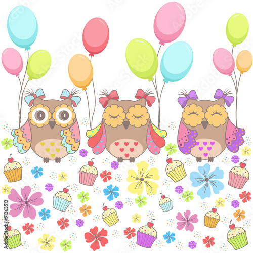 Poster Hibou Beautiful pattern card with owls, flowers, cakes and balloons on a white background