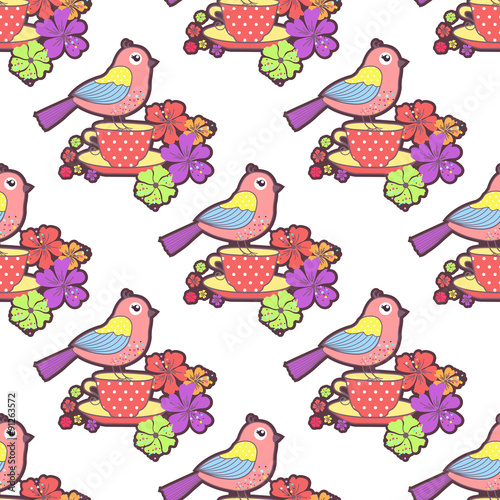 Photo sur Aluminium Hibou Seamless pattern with birds, cup and flowers on a white background