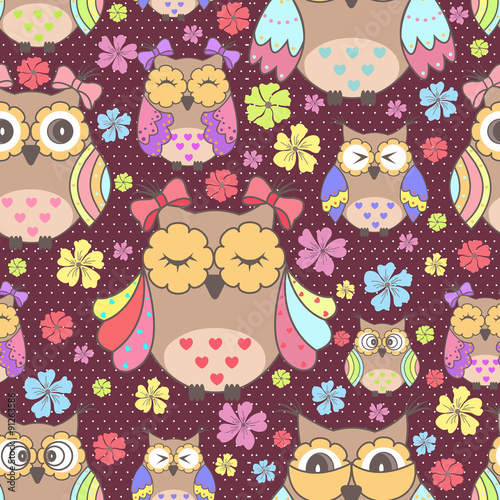 Poster Hibou Beautiful seamless wallpaper with owls and flowers on a purple background
