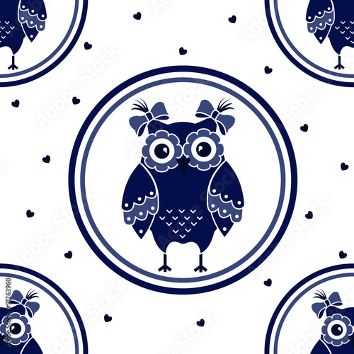Photo sur Aluminium Hibou Seamless texture with blue owls on a white background