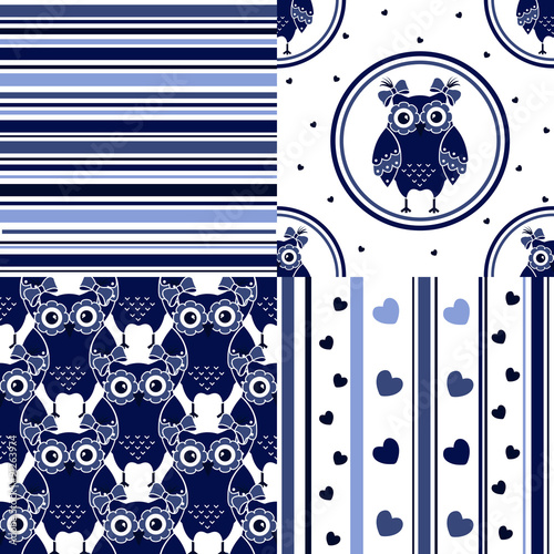 Photo sur Aluminium Hibou Four seamless set with owls in blue and white colors