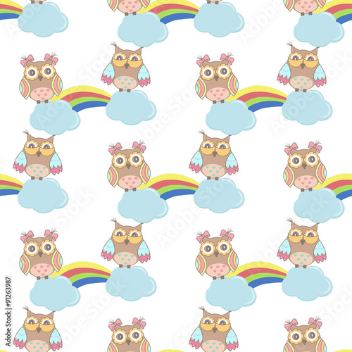 Photo sur Aluminium Hibou Seamless pattern with clouds, rainbow owls on a white background